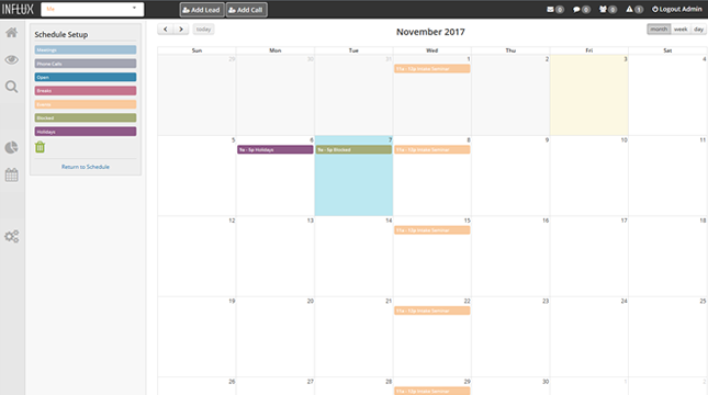 drag and drop schedule builder in influx md